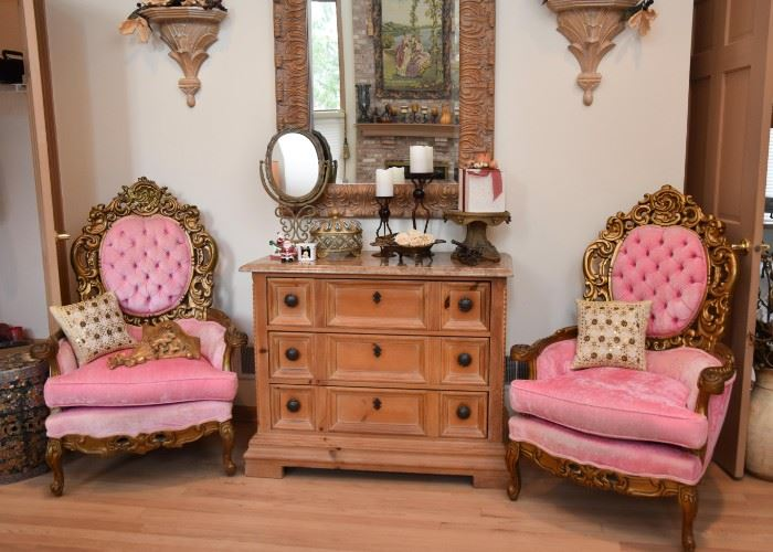 Ornate Pink Upholstered Armchairs, 3-Drawer Chest with Stone Top