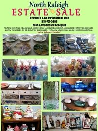 Fenton, Royal Lace, Harker and Russell Wright Pottery.  Dolls and Cookie Jars!