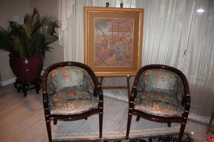 Pair of Upholstered Side Chairs and Art with Easel