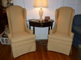 Nice pair of high back wing-back chairs
