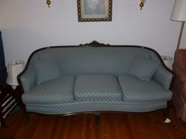 Beautiful antique sofa w/carved back and ball & claw feet