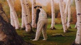"original oil painting ""Golfer Amongst Birch Trees"" approx. 5'x4'  $2,600"