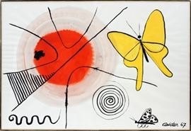 "ALEXANDER CALDER (AMERICAN, 1898–1976), GOUACHE & INK ON PAPER, 1967, H 29 1/4"", W 43"", ""YELLOW BUTTERFLY AND SUN"" Lot # 2030"