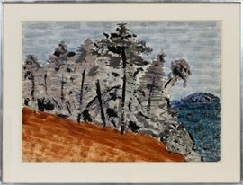 "MILTON AVERY, (AMERICAN, 1885–1965), WATERCOLOR ON PAPER, 1956, ""AUTUMN IN NEW HAMPSHIRE"" Lot # 2031"