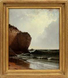 "ALFRED THOMPSON BRICHER (AMERICAN 1837-1908), OIL ON CANVAS, 1873, H 24"", W 20 1/4"", ""AT MOUNT DESERT ISLAND, MAINE"" Lot # 2001"