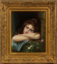 "LEON JEAN BASILE PERRAULT (FRENCH, 1832–1908), OIL ON CANVAS, 1901, H 22"", W 18 1/4"" Lot # 2008"
