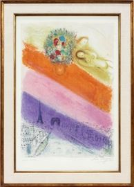 "MARC CHAGALL (FRENCH/RUSSIAN, 1887–1985), LITHOGRAPH, IMAGE: H 23 3/4"", W 16 3/4"", ""LOVERS OVER PARIS"""" Lot # 2034"