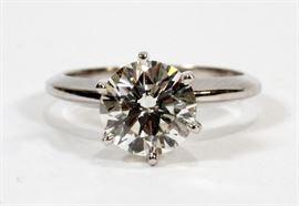2.10CT ROUND BRILLIANT CUT DIAMOND (GIA) (H, SI-2), 14KT WHITE GOLD RING, SIZE: 6, 3.69 GRAMS Lot # 2060