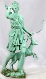 "PATINATED MID-CENTURY BRONZE GARDEN SCULPTURE, H 7', W 5', D 34"" ""DIANA OF VERSAILLES"" Lot # 2237"