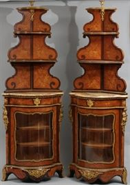 "FRENCH NAPOLEON II MARQUETRY AND BRONZE CORNER CABINETS, PAIR, H 80"" W 29.5"", D 15.5"" Lot # 2055"