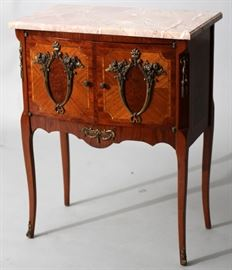 "FRENCH MARBLE TOP, WALNUT, FRUITWOOD COMMODE, 19TH C., H 29"", L 22.5"", DIA 13.5"" Lot # 2056"