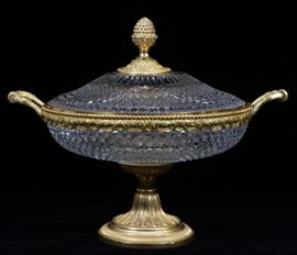 "CRYSTAL AND BRONZE COVERED URN, H 11.5"", DIA 14"" Lot # 2096"