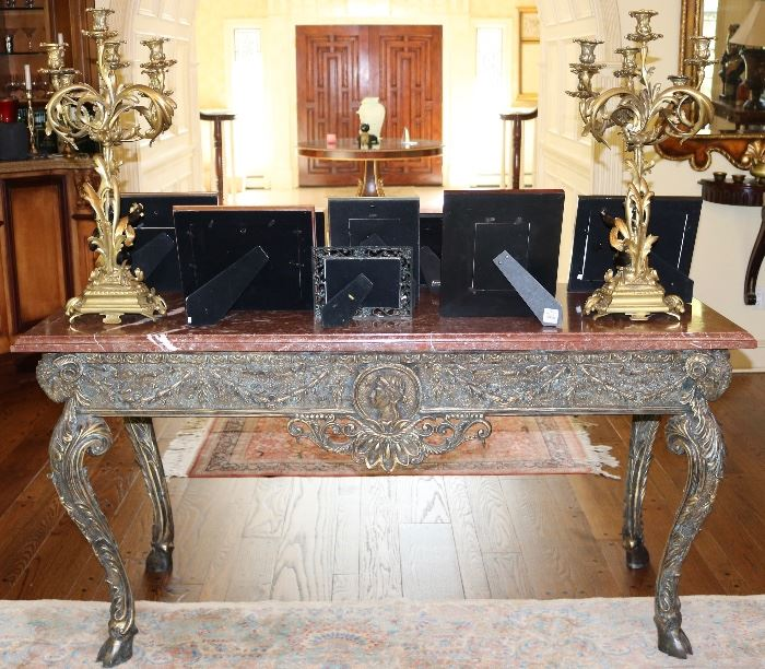 Marble top Bronze Console Table