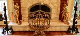 Gilt Bronze, Iron & Granite Fire Screen, Massive Bronze Dragon Andirons, Gilt Bronze Figures