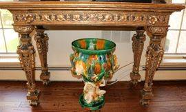 Marble Top Gilt Wood Table, Majolica Planter