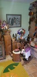 artwork, dolls, wood carvings