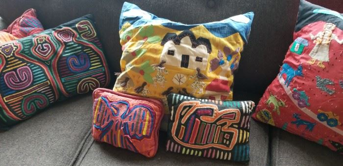 Beautiful pillows made from vintage textiles
