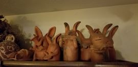 Family of musical clay rabbits