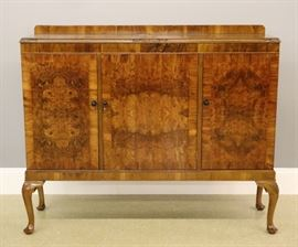 1930's Queen Anne Style Walnut Sideboard