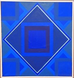 Albert Mullen (1921-1983) - Abstract Oil on Canvas. Signed and dated 1968 by Mullen, a Michigan artist who studied under Hans Hoffman and Fernand Léger.