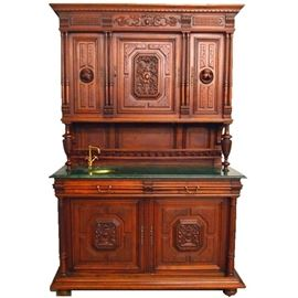 French Walnut Marble Top Cabinet