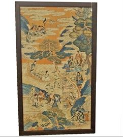 """19th C. Kesi Immortals Panel,  Qing dynasty. Pictorial scene of Daoist immortals  on Penglai Island, featuring  Xiwangmu, Magu & Kuixing.  Measures 40 1/4"""" x 69"""" -  Woven in slit-weave technique . Three wear spots towards the top, some missing areas on the bottom."""