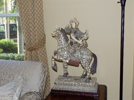 """Antique Chinese Carvings, Pair of 2 Horses, Over 24"""" Tall ( second one not in photo)"""