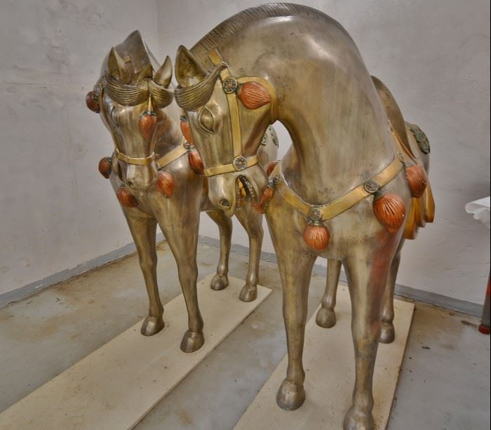 $10,000 each... Beautiful Vintage Large Scale Asian Style Brass Horse Sculpture Statues. Can sell separately at $10,000 each. Condition is pristine. They have been kept covered inside for many years since their purchase.