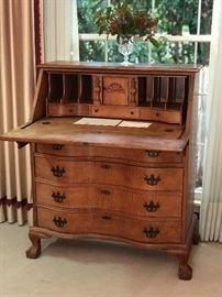 Antique Serpentine front pine writing desk