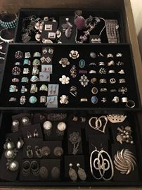 Sterling silver jewelry with and without natural stones including marcasite, Mexican and Native American, all 50% off!