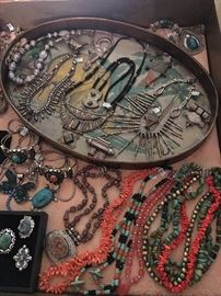 African jewelry said to be 200-300 years old, brass and silver jewelry with genuine stones from Tibet and natural stone necklaces, all 50% off!
