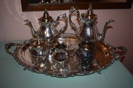 """Wallace """"Baroque"""" Tea Set. Gorgeous with 7pcs including the Matching Tray!"""