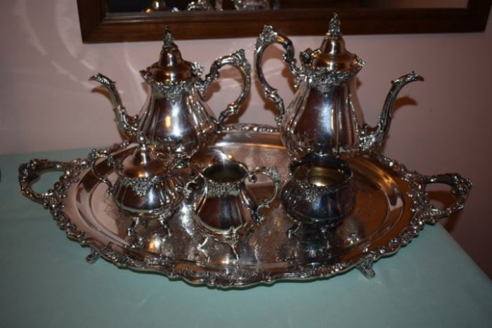 "Wallace ""Baroque"" Tea Set. Gorgeous with 7pcs including the Matching Tray!"