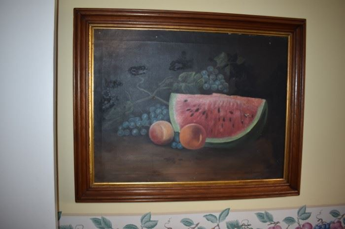 Beautiful Antique Still Life Oil Painting of Fruit Signed by Artist Mary Cowden in 1908.