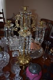"""Lovely Antique 5 Candle Crystal Table Top """"Prismed"""" Chandelier with Brass Accents and Footed Base."""
