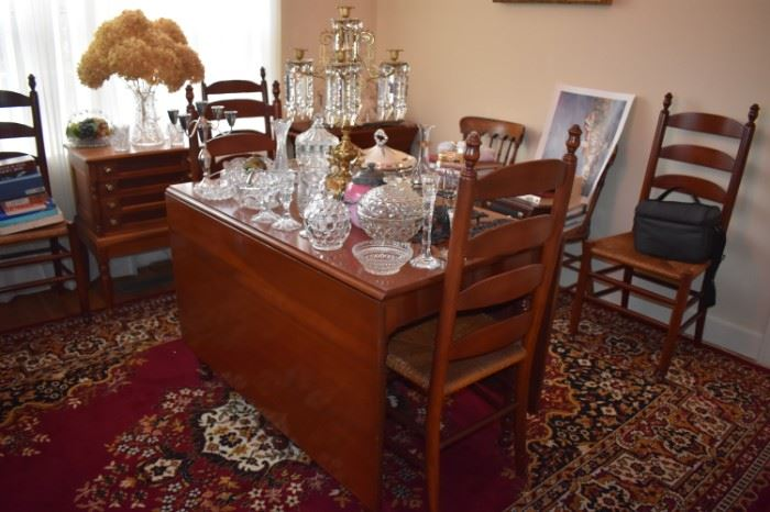 Beautiful Antique Drop Leaf Dining Table, with leaves, and Matching Ladder Back Chairs in Great Condition plus Antique Glassware Galore! Also take notice of the Lovely Persian Rug!