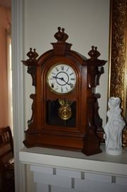 Beautiful Antique Mantle Clock featuring a carved wood case adorned with finials plus Art Nouveau Style Vase