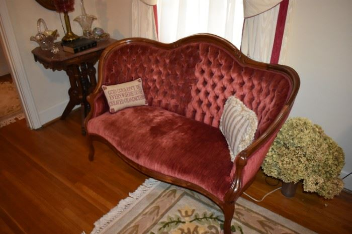 Beautiful Antique Red Velvet Settee with Gorgeous Tufted Back and Cabriole Legs