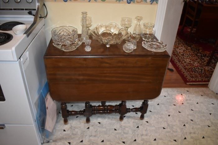 Beautiful Antique Cherrywood Drop Leaf Gate Legged  Table with Vintage Glass Pieces on Table Top