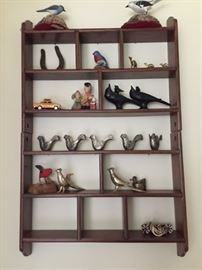 Hanging Shelf with Collection of Birds.