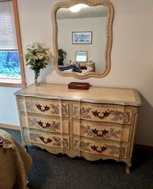 Dresser, part of the Elegant French Provincial Bedroom Set.  Luxury at its finest.  Take a peek at all the photos of this large bedroom set. John Widdicomb Furniture
