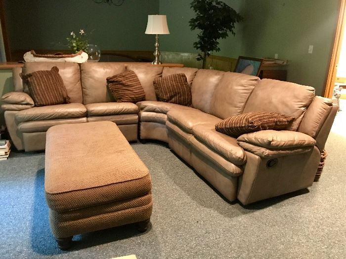Tan Leather Sectional Sofa