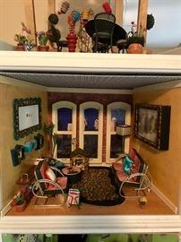 Retired American Girl Mini Illuma Rooms.  The Loft Apartment, Patio Garden on Loft, and The Green Room.