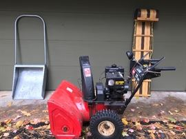 Snow is on its way.... We have some work and some fun.  Show push shovel, Toro Power Shift 828 Snow Blower / Thrower, and toboggan