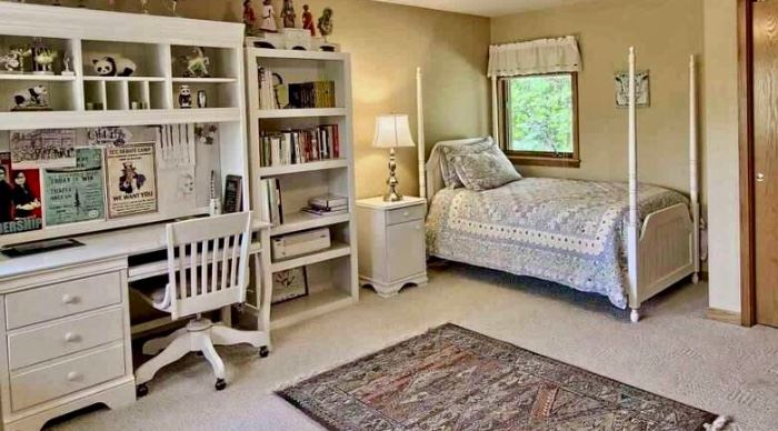 White 4 poster bedroom set, or use as a canopy bed!  Bed, Dresser, Nightstand, Bookcase and Desk with Chair.