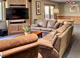 Tan Leather Sectional Sofa.  TV not avail