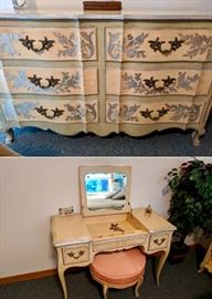 Elegant French Provincial Bedroom Set.  Luxury at its finest.  Take a peek at all the photos of this large bedroom set.  John Widdicomb Furniture