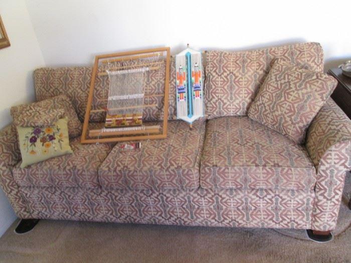 """Sleeper Sofa by Ethan Allen.  Small """"Sara"""" Loom & Weaving on Sofa"""