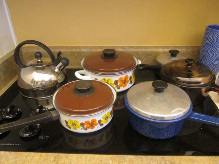 Pots & Pans and a Stainless Tea Pot