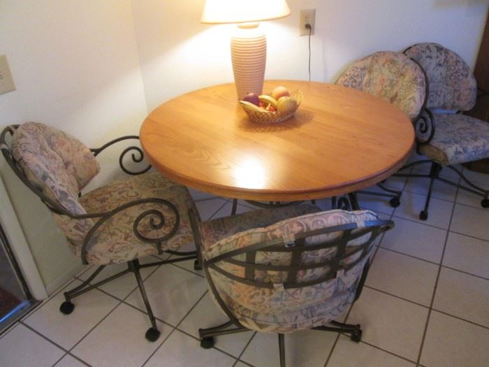 """48"""" Dinette Table/4-Chairs on Casters, metal frames, wood top and SW pattern upholstery"""
